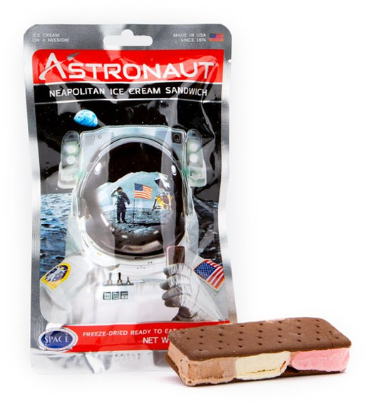 Astronaut Freeze Dried Neapolitain Ice cream sandwich package with an astronaut holding an ice cream sandwich on the moon.