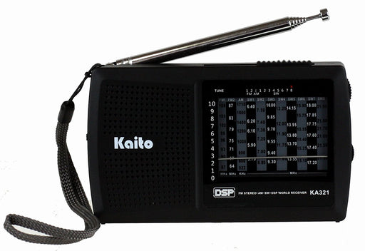 Kaito 321 Short Wave AM/FM World Receiver in black with SW frequencies and DSP technology.