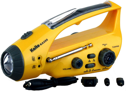 Kaito KA288 Solar/Wind-up Flashlight with AM/FM Radio in yellow, the AM/FM tuner is shown along with the Blink Siren for emergency situations.