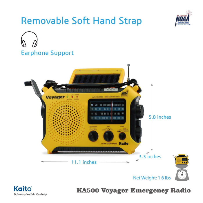 Kaito KA500 5-way Powered Emergency AM/FM/SW NOAA Weather Alert Radio with Solar,Dynamo Crank,Flashlight and Reading Lamp