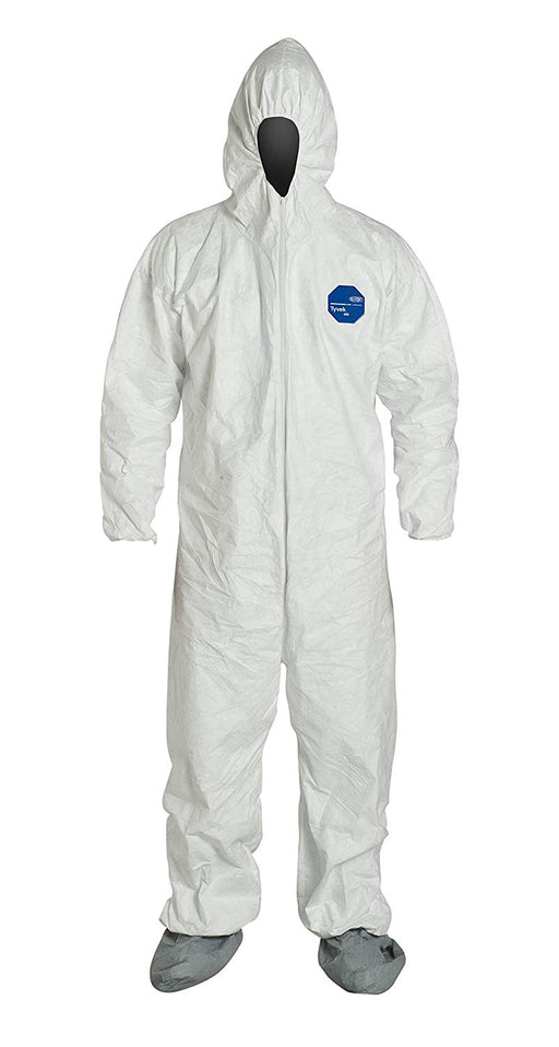 Tyvek Protective suit in white with the hood up and boots attached.