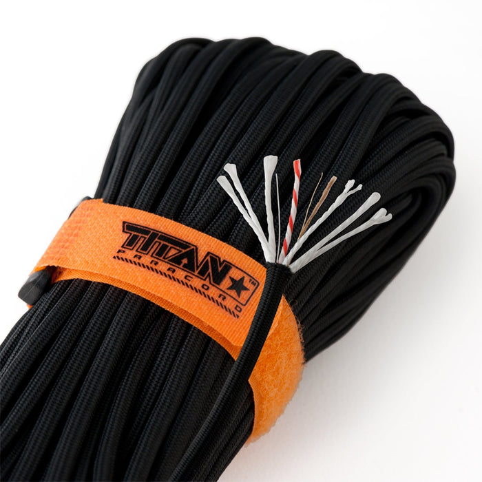 TITAN SurvivorCord (BLACK ) | 100 Feet | Patented Military Type III 550
