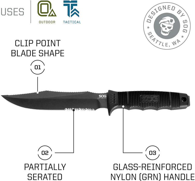"SOG SEAL Team Elite Fixed Blade SE37-N - Black TiNi 7"" AUS-8 Blade"