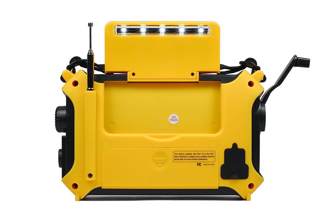 Solar panel storage compartment of the Kaito Voyager KA500 radio in Yellow.