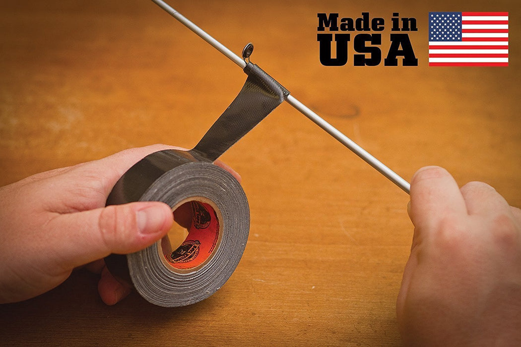 Gorilla 1inch Tape Roll being used to fix a fishing rod with the 'Made in USA' logo.
