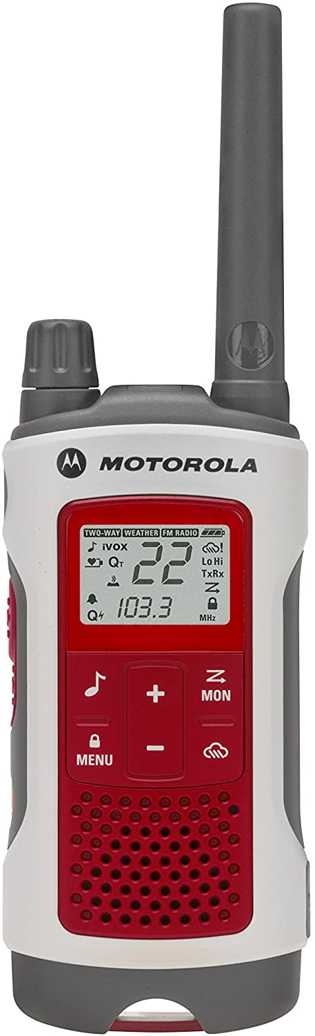 Motorola Talkabout T4800 Emergency walkie talkie in red and white with a black dial and antenna.