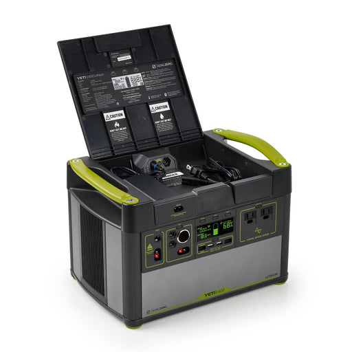 Goal Zero 1400 Lithium portable power station with dual usb and a usb c port. The Power station is a black and green design with a storage compartment for cable management.