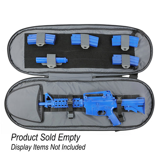 A blue m16 assault rife encased in the Rackit 36 Covert Rifle Pack.
