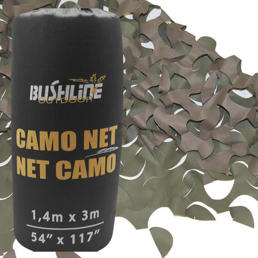 The Bushline Outdoor Camo Net/ Net Camo  shown in it's black carrying bag with the brown and green net shown in the background.