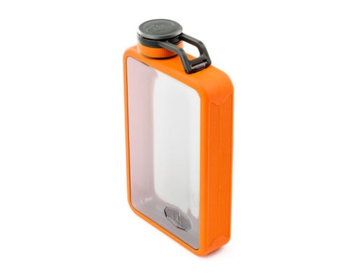 GSI Boulder Flask in Orange with a clear see through body.