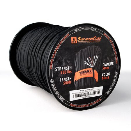 TITAN SurvivorCord 500 FT Spool (BLACK) | Patented Military Type III 550