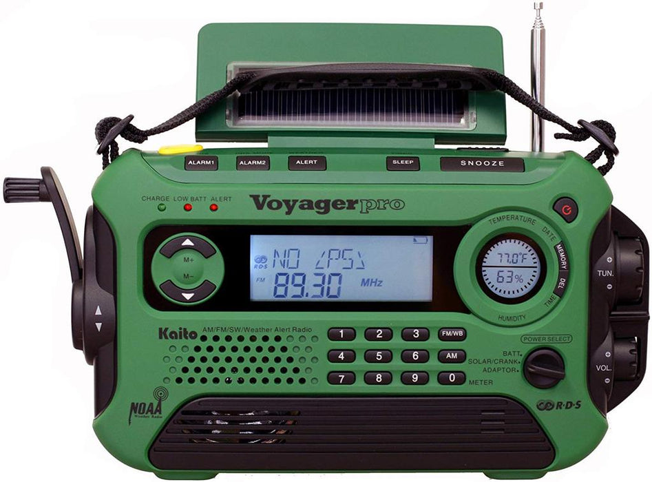 Kaito KA600L Emergency Radio in Green with 9 presets for am/fm radio and the outside temperature rating with heads up battery level display.