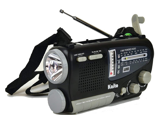 Kaito Ka888 Emergency Radio in grey and black with a flashlight built in and hand crank for generating power.
