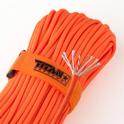 TITAN SurvivorCord (SAFETY ORANGE ) | 100 Feet | Patented Military Type III 550