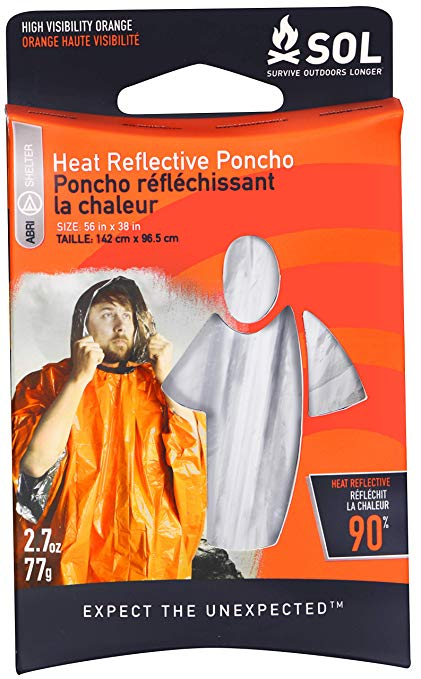 Heat Reflective Poncho product packaging with a man wearing the heat refelctive poncho.