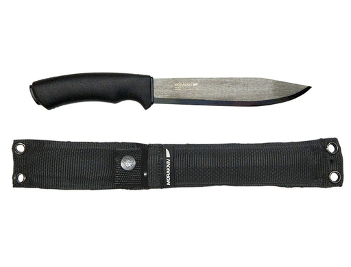 Morakniv Pathfinder knife with a carbon steel blade and black nylon sheath on a white background.