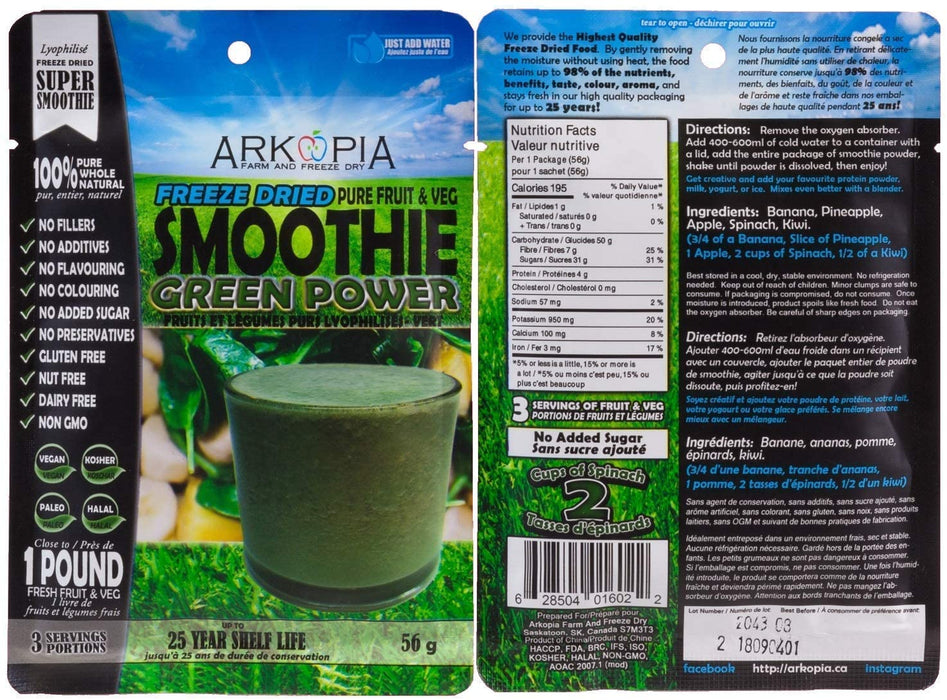 Arkopia Freeze Dried Smoothies | 25 Year Shelf Life (SINGLE)