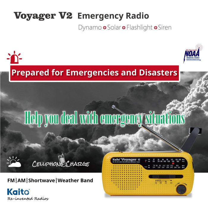 Kaito Voyager 2 Portable Solar/Hand Crank AM/FM, Shortwave & NOAA Weather Emergency Radio with USB Cell Phone Charger & LED Flashlight