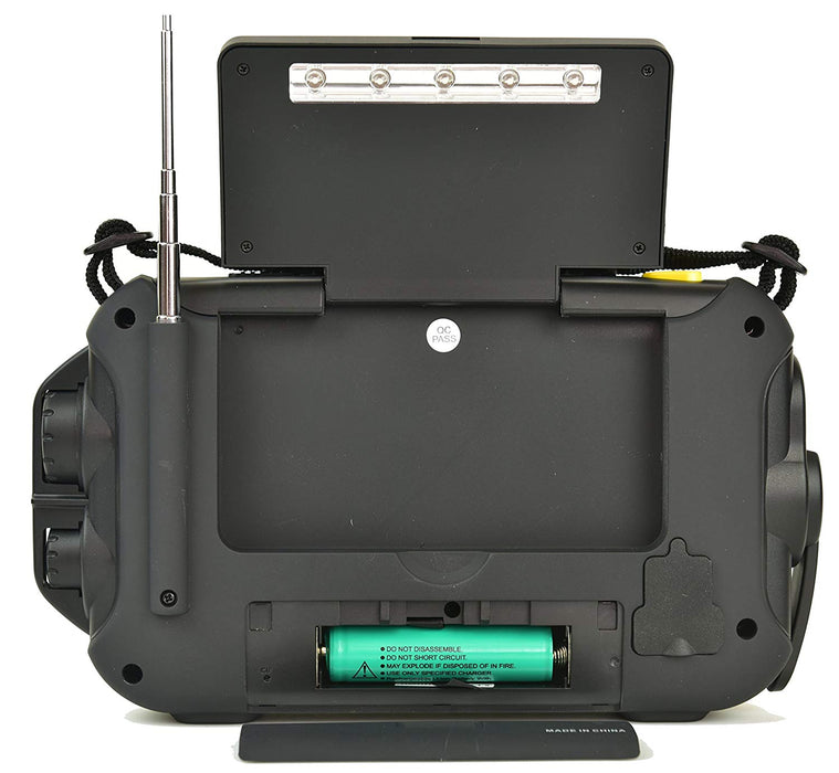 Solar panel storage compartment and AA battery location of the Kaito KA600L Voyager Pro Large Emergency Radio.