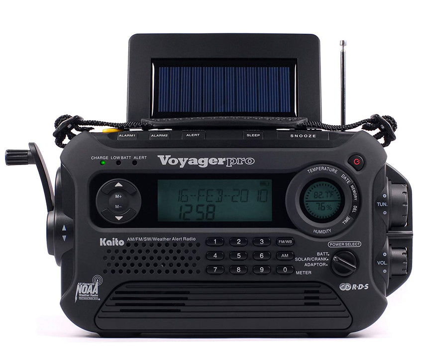 Katio KA600L Voyager Pro 5-way powered Radio in Black. With the hand powered crank, solar panel and RDS led display.