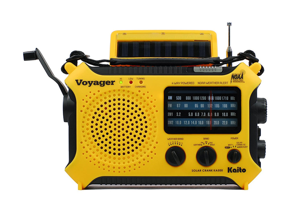 Kaito KA500 5-way Powered Emergency Radio in Yellow.