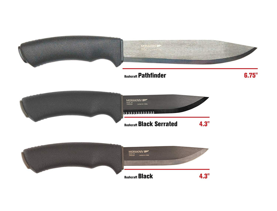"The Morakniv Pathfinder, Bushcraft Black serrated and the Bushcraft Black Knives. The pathfinder is largest at 6.75 inches, the black serrated and bushcraft black are both 4.3"" in blade length."