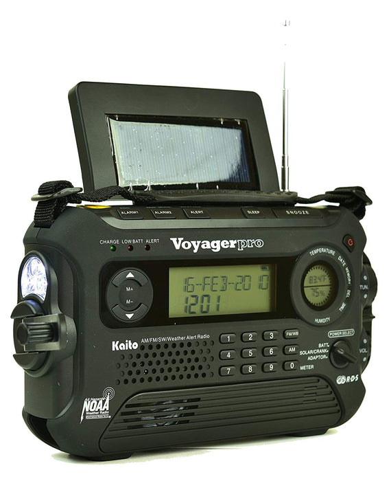 The Hand Crank, Side LED flashlight, and Snooze button of the Kaito Voyager Pro 600 Large Emergency Radio in Black.