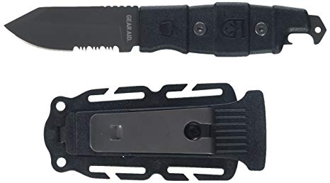 Gear Aid Buri Adventure Multipurpose Knife in black with the multipoint retention sheath.