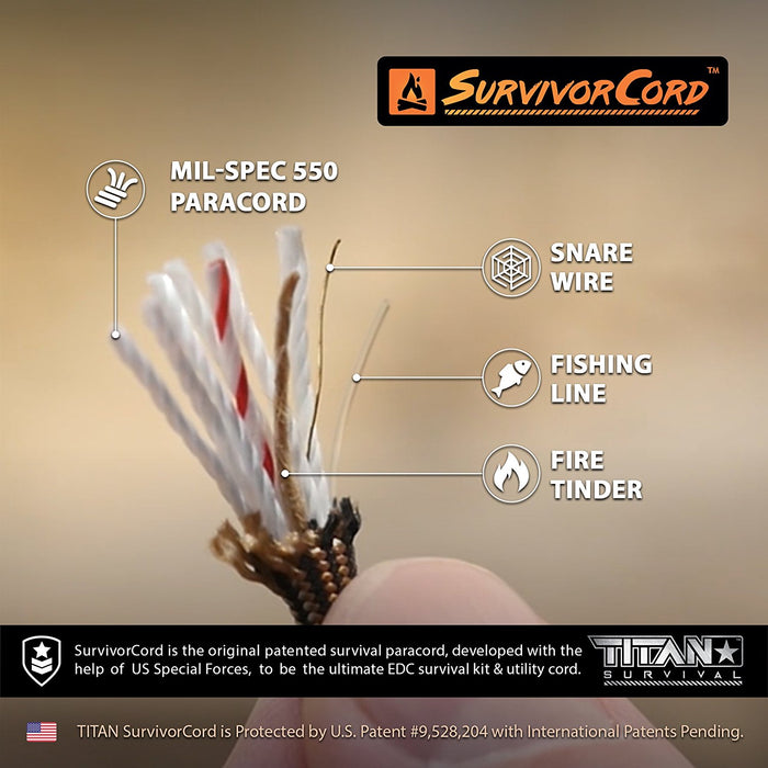 TITAN SurvivorCord (COYOTE BROWN) | 100 Feet | Patented Military Type III 550