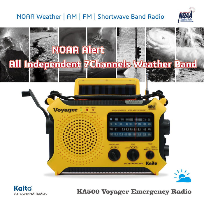 Kaito KA500L LITHIUM Handheld Radio + Reading Lamp with 5-way Powered Emergency AM/FM/SW NOAA Weather Alert Solar and Hand Crank