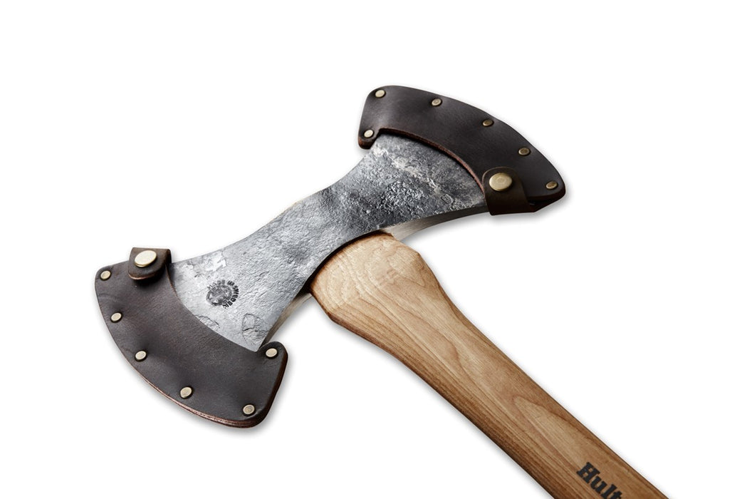 Hultafors Wetterhall Competitive Throwing Axe. The double sided axe is shown sheathed in a dark brown leather.