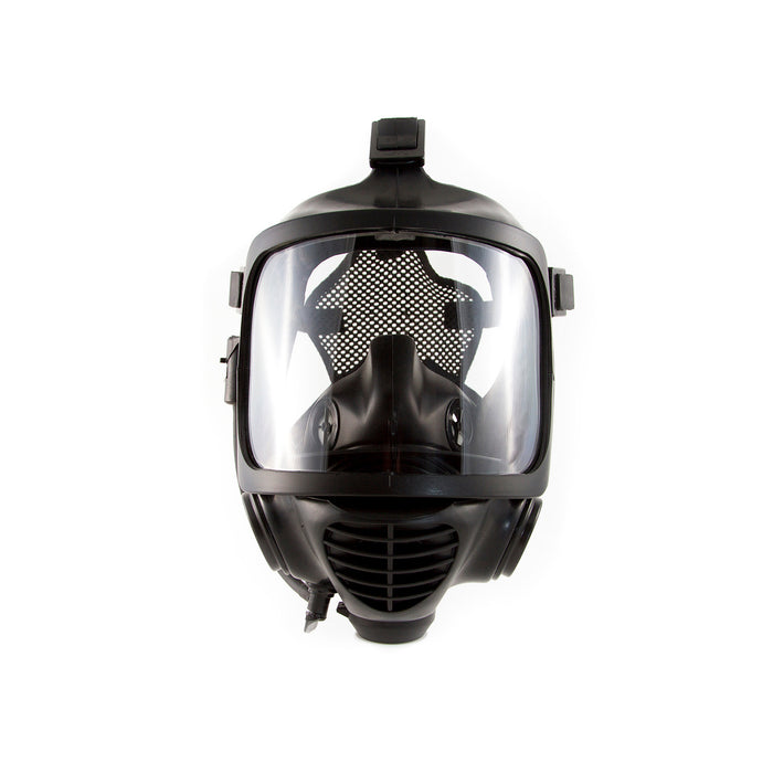 Front view of the CM-6M Tactical Gas Mask without the drinking straw attachment, In a Black finish. A full vision mask is shown, the straps are seen on each edge and the repirator unit below the mask.