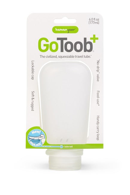 GoToob+ silicone compact travel tube product package with the description 'The civilized, Squeezable travel tube'.