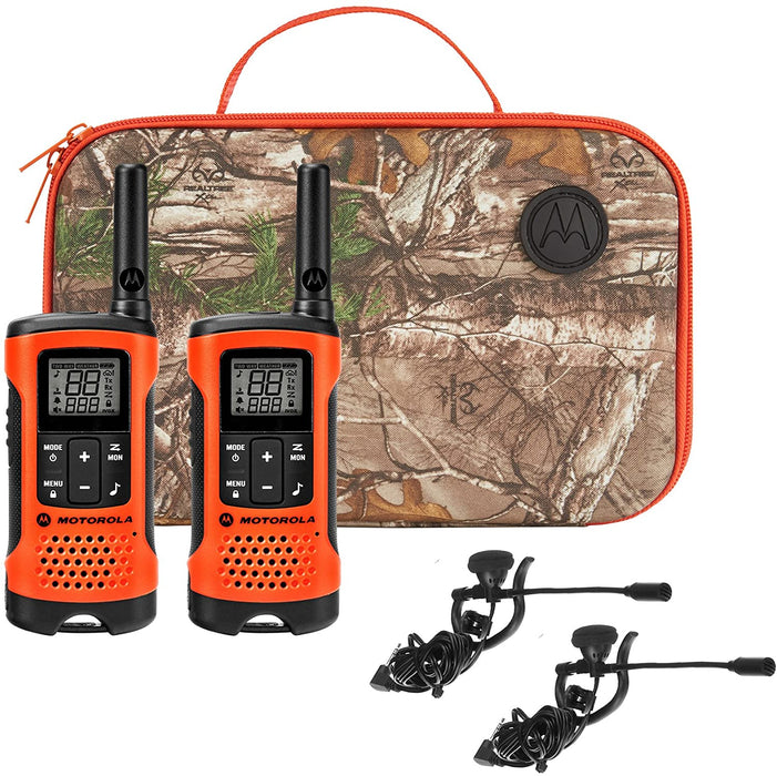 Motorola Talkabout T265 Sportsman walkie talkie kit with a woodland camouflage carrying case and two microphone earpieces for hands free communication. The radios are in orange with black coloured buttons and dials.