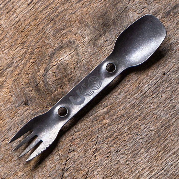 NEW! UCO Titanium Utility Spork - Combination Utensil: Fork, Spoon and Serrated Knife
