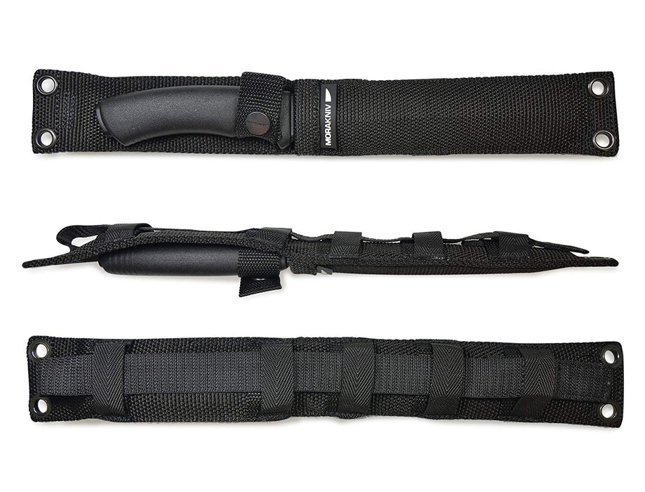 The Black nylon sheath for the Pathfinder carbon steel knife with a belt loop and 5 loops for attaching to other backpacks and gear.