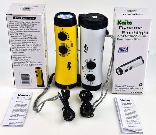 Kaito Dynamo flashlight in white and yellow with the volume and tuner band dials and usb charging cables.