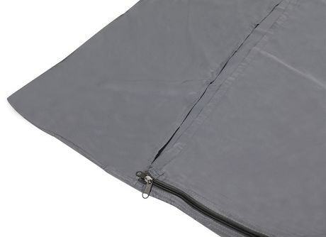 The zippered synthetic silk sleeping bag liner of the north 49 syn silk.