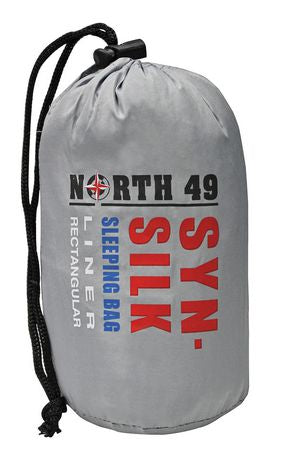 North 49 SYN SILK sleeping bag liner carrying case in grey. An adjustable drawstring is on the bag.