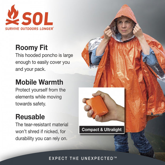 SOL Survive Outdoors Longer product details 'Roomy Fit' 'Mobile Warmth' 'Resusable'.
