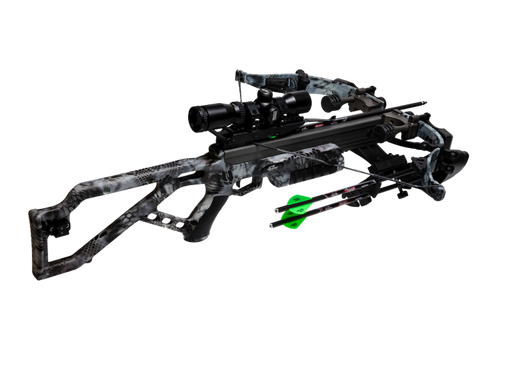 Excalibur Micro Mag 340 Crossbow in a MOBUC Camouflage. The high zoom optics scope is in black and there are two green coloured arrows attached to the side of the recurve on the bow.