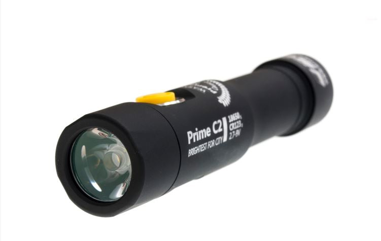 front view of the prime c2 flashlight showing the small powerful bulb