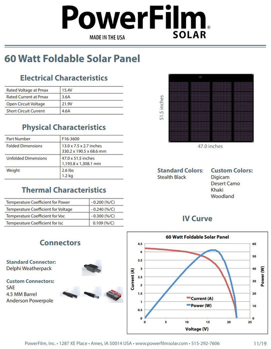 Powerfilm 60 Watt Foldable Solar Panel (F16-3600)