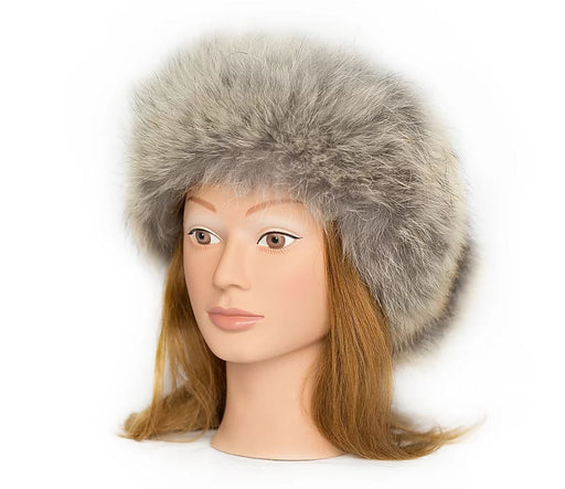 Coyote Fur Headband on a Woman mannequin with red hair and brown eyes.