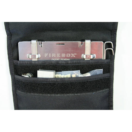 Firebox 5 inch Case with two storage compartments, 1 for the firebox stove and another for firestarting accessories like lighters, fire starting bricks, and firestarting threads.