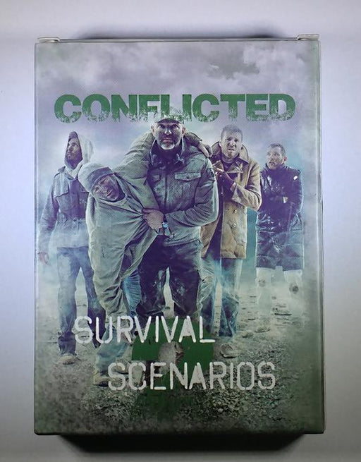 Conflicted Survival Scenarios Deck of cards. With 5 men in varied conditions walking along an open wasteland. The lead man is carrying another man who's injured his leg.