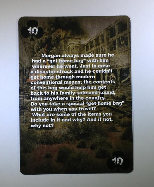 Card # 10 of the Conflicted deck 4 - The survivalist game series. The card has an image of a large explosion occuring at an abandoned facility, with a person and child walking away from the devastation.