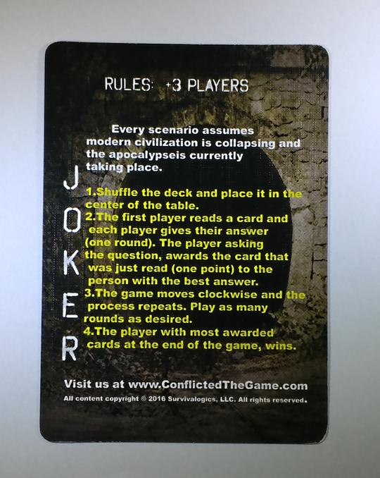 Rules card of the conflicted deck game series.