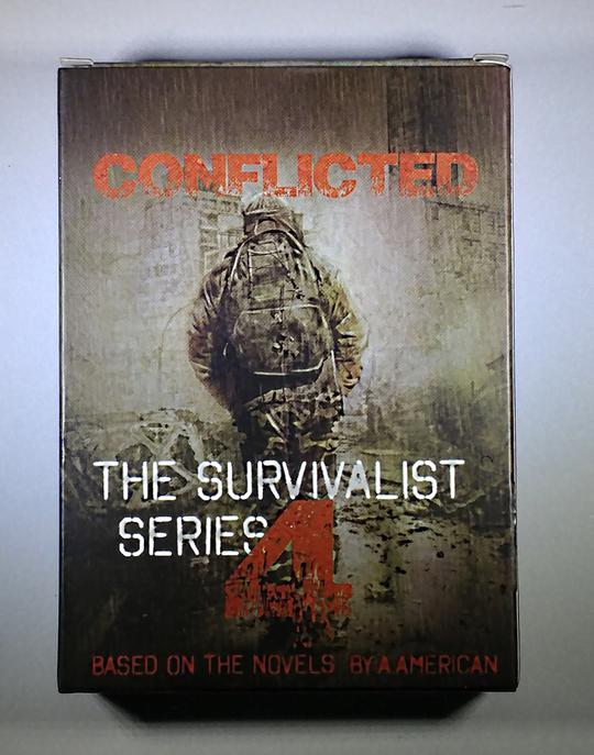 Front cover of the playing card box 'Conflicted: The Survalist Series 4'. A man wearing army camo is traversing through the landscape with a military backpack and helmet on.