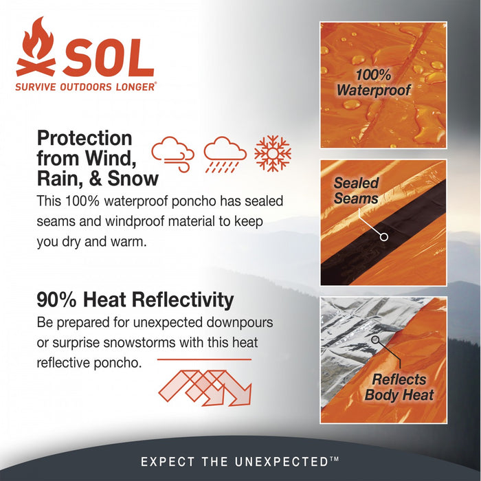SOL survive outdoors longer Heat Reflective Poncho information. Descriptions 'Protection from Wind, Rain, & Snow' and '90% Heat Reflectivity'.